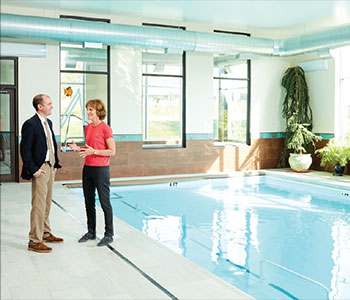 The RehabGYM's expansive pool area