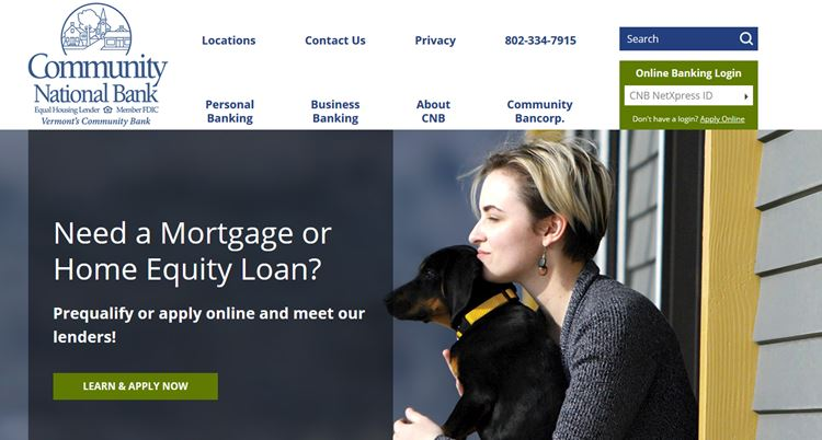 CNB home page lady with dog