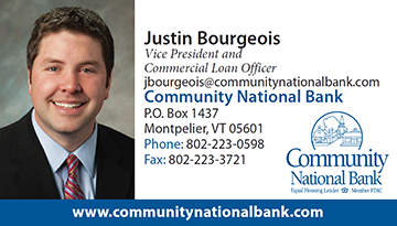 Contact information for Justin Bourgeois, Vice President and Commercial Loan Officer