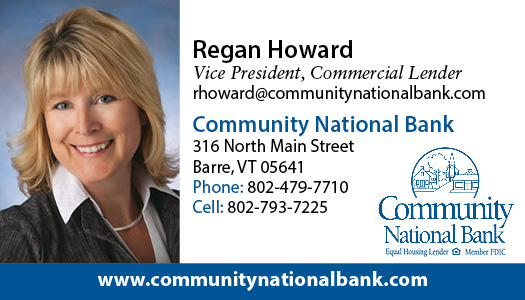 Regan Howard, Vice President and Commercial Loan Officer, contact information