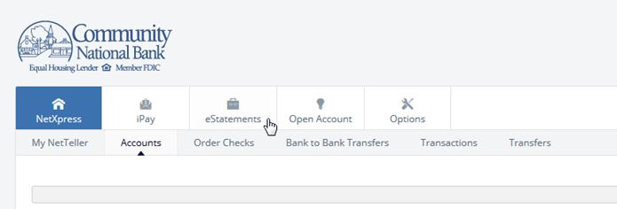 Sign in to your Online Banking account and select the eStatements tab.